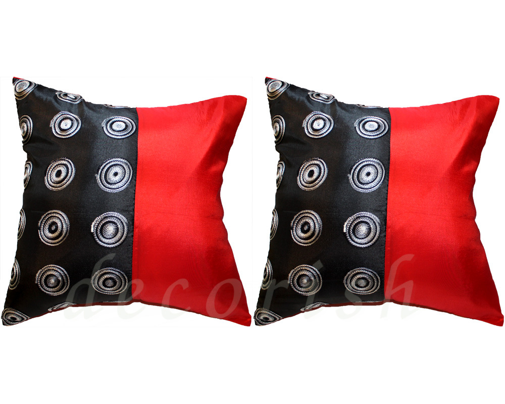 Red Throw Pillows For Sofa : 2 EMBROIDERED SILK SOFA COUCH DECOR PILLOW CASES BLACK & RED - Pillows