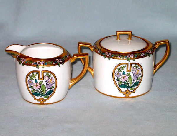 Vintage NIPPON Cream and Sugar L. H. Morian Hand Painted