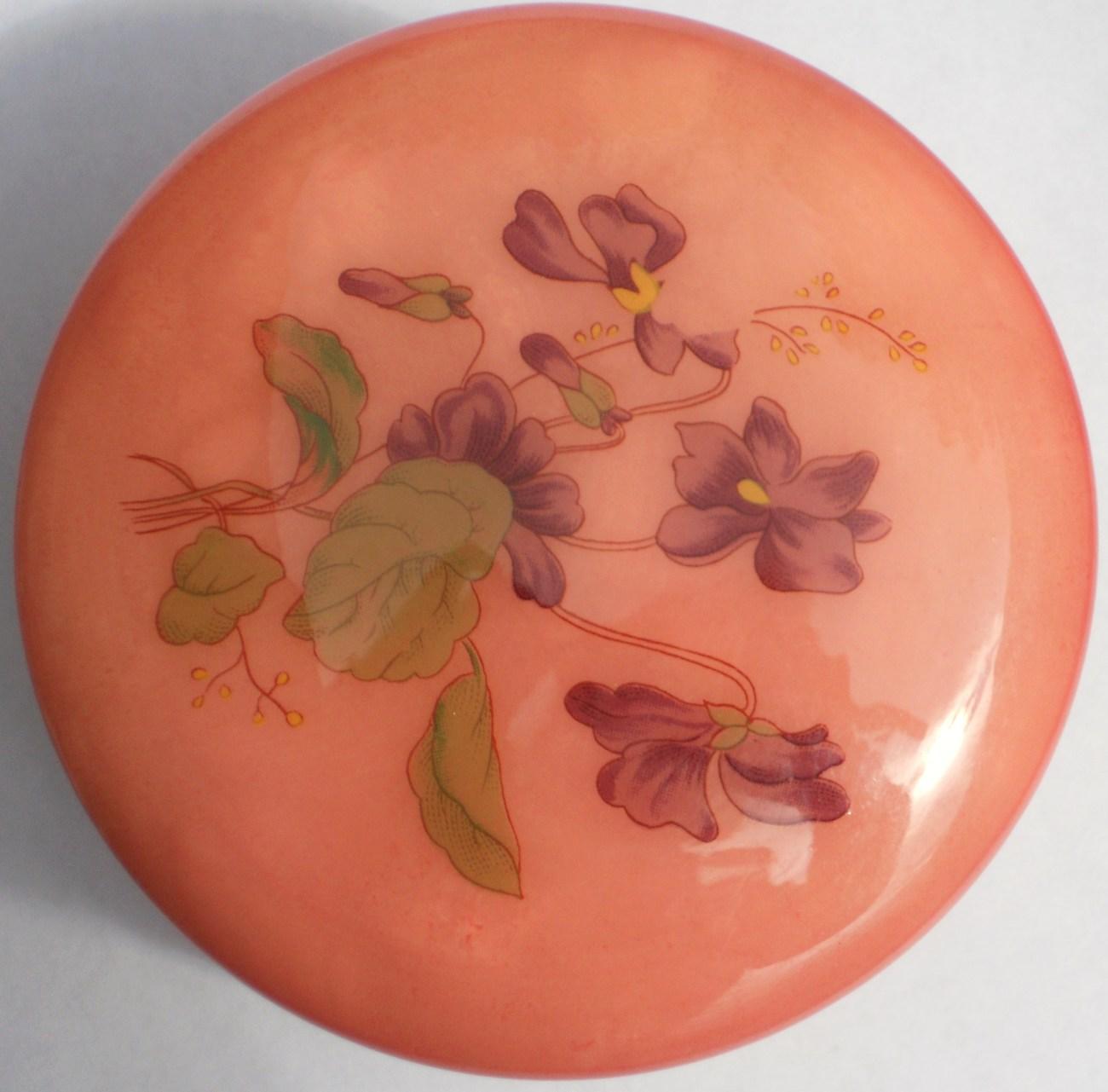 Image 2 of Genuine Alabaster Trinket box hinged dark pink floral Italy
