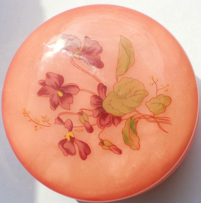 Image 4 of Genuine Alabaster Trinket box hinged dark pink floral Italy