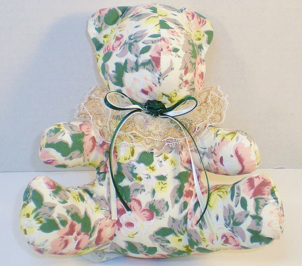 Image 3 of Flower, Floral print chintz fabric stuffed bear, 1992