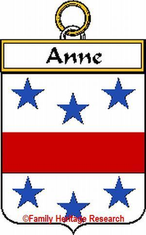 Anne French Coat of Arms Print Anne Family Crest