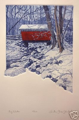 Anita Jones Stanton Icy Winter S/N Etching Original