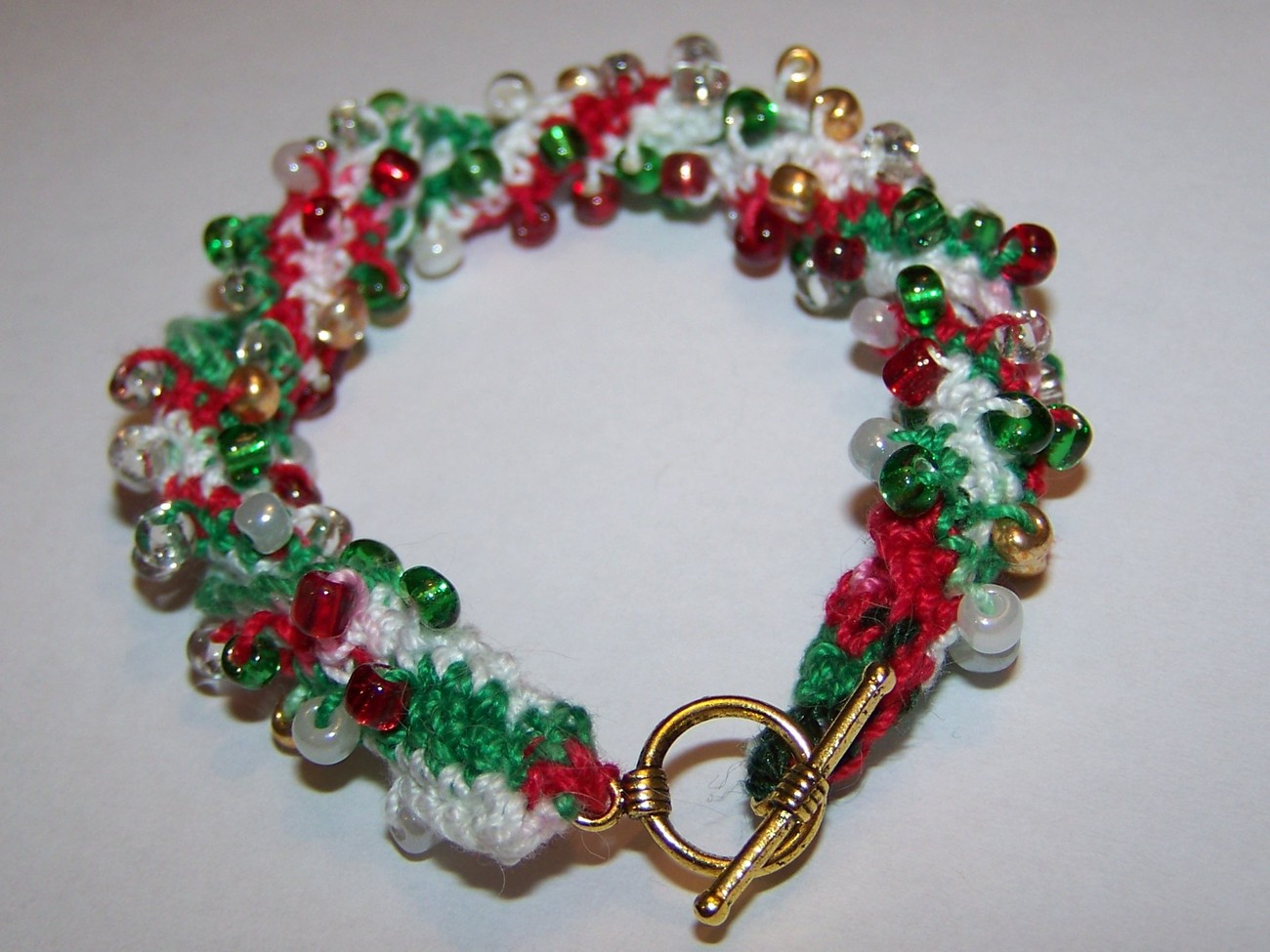 CHRISTMAS Jewelry Red White Green and Gold Festive Beaded ...