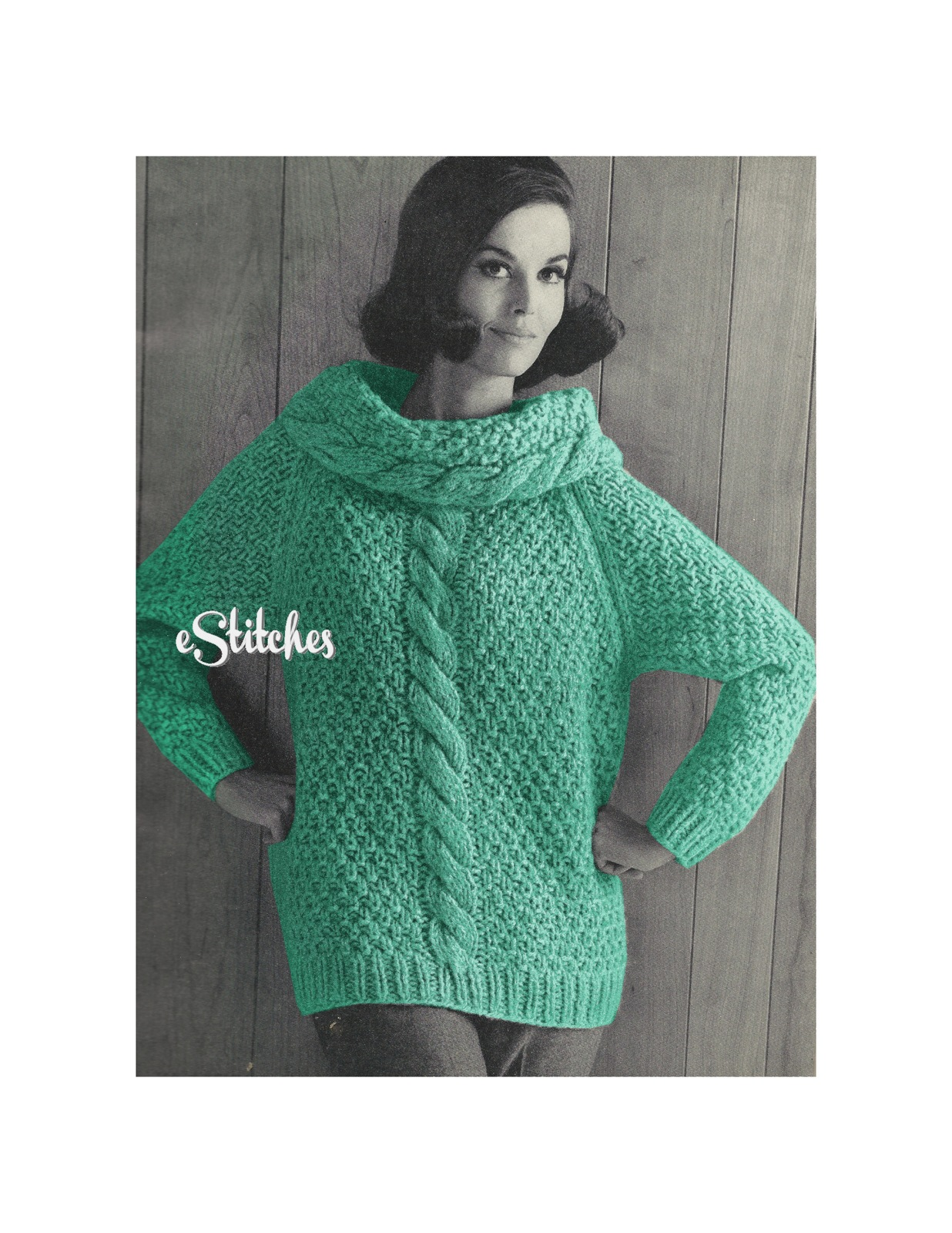 1960s Cable Knit Rolled Collar Super-Bulky Sweater - Knit pattern (PDF 7827) ...
