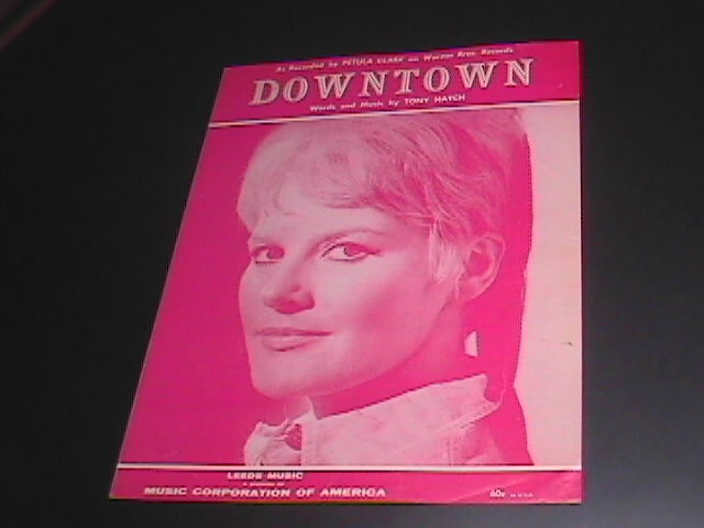 Sheet Music Downtown Petula Clark Pink 4 Pages 1964 Welbeck Music Tony Hatch