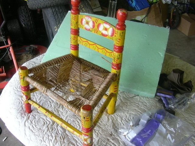 "Vintage Mexican Primitive Hand Painted Woven Fiber18"" Child Chair"