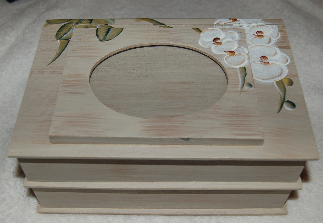 Jewelry Box Keepsake Painted Bookshelf Case Flowers