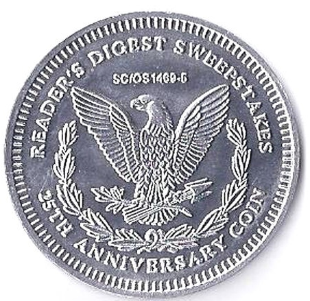 Bright & Shiny Advertising Plastic Token. Reader's Digest Sweepstakes,25th Anniv