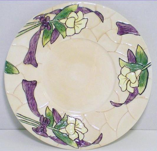 Our America Decorative Candle Plate Iris Mosaic Ceramic Flor