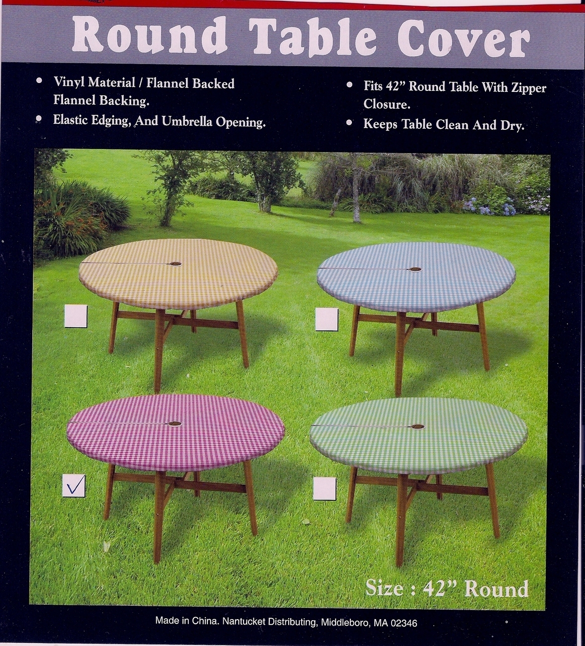 Round Tablecloth Umbrella 42 Red White Check Gingham