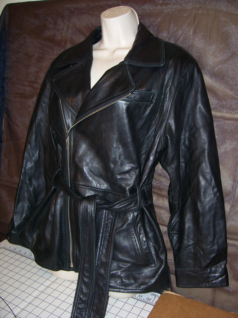 Valerie Stevens Black Butter Soft Leather Jacket Coat w Belt Small Medium Lamb