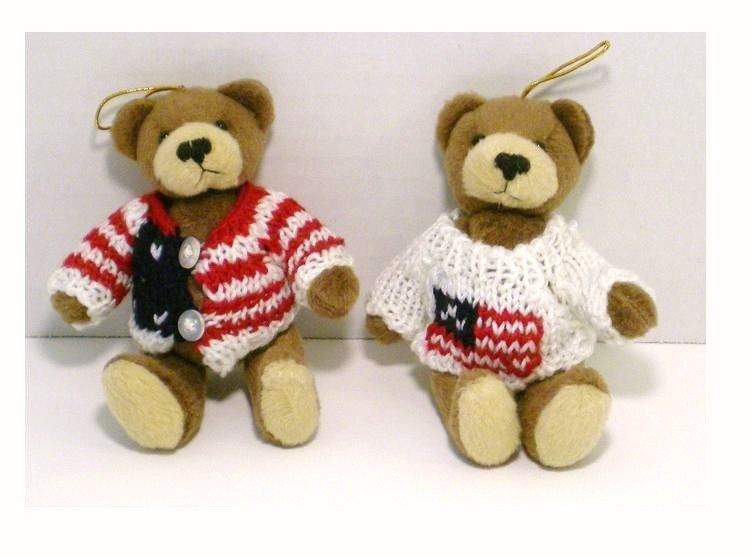 Image 1 of Patriotic bear ornaments Old Gloria and Americana Sam