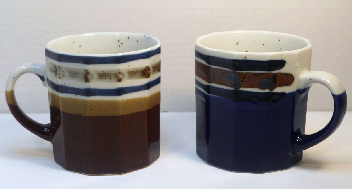 Ceramic coffee tea mugs multi-sided shaped blue brown Japan