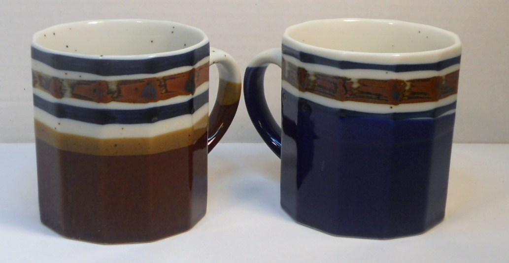 Image 1 of Ceramic coffee tea mugs multi-sided shaped blue brown Japan