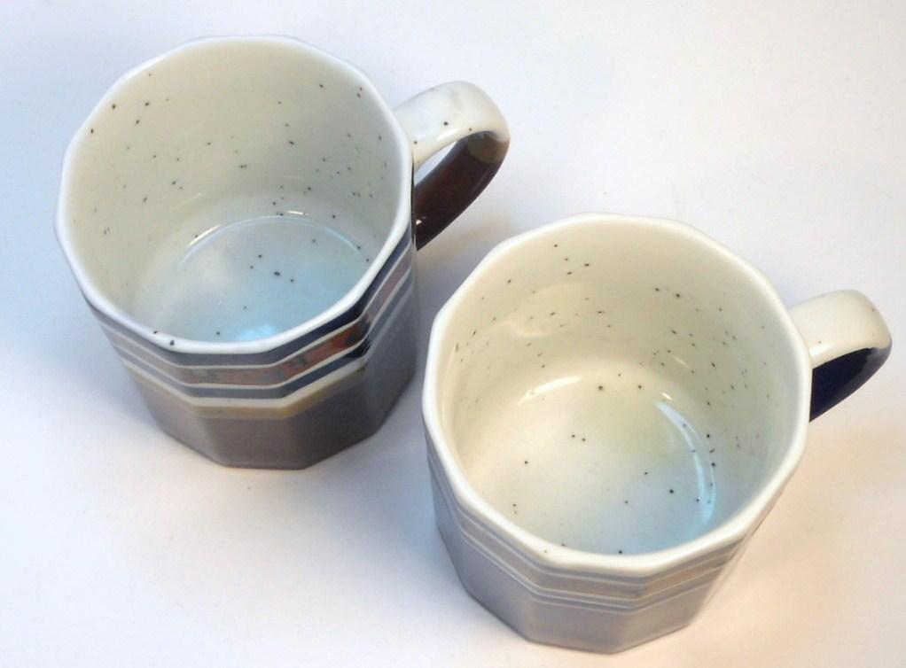 Image 3 of Ceramic coffee tea mugs multi-sided shaped blue brown Japan