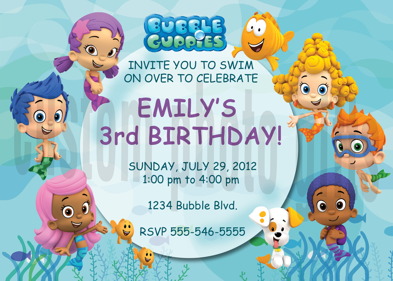Personalized Bubble Guppies Birthday Invitation Digital ...