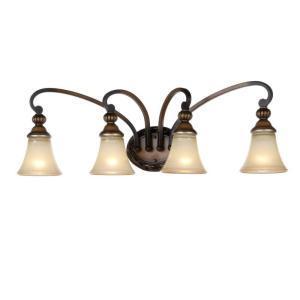 hampton bay caffe patina 4 light vanity fixture lighting. Black Bedroom Furniture Sets. Home Design Ideas