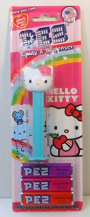 Hello Kitty Pez with pink Hibiscus Flower Hawaiian Blister Pack
