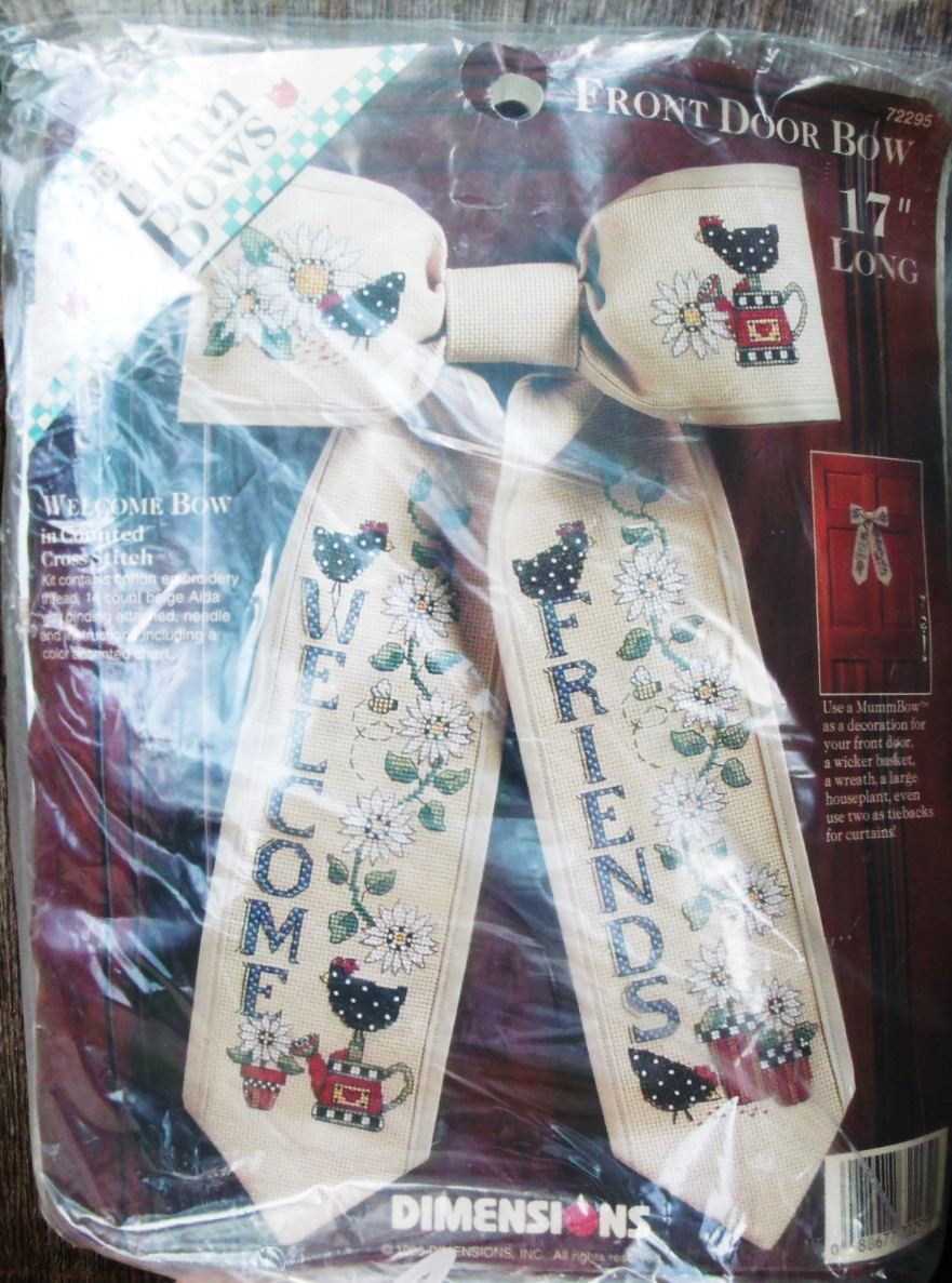 "Dimensions Debbie Mumm Bows 17"" front door bow "" Welcome Friends"" kit"