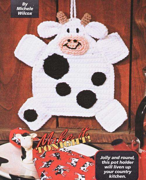 Free Crochet Patterns Kitchen Decor : Country Cow Potholder Crochet Pattern Kitchen Home Decor ...