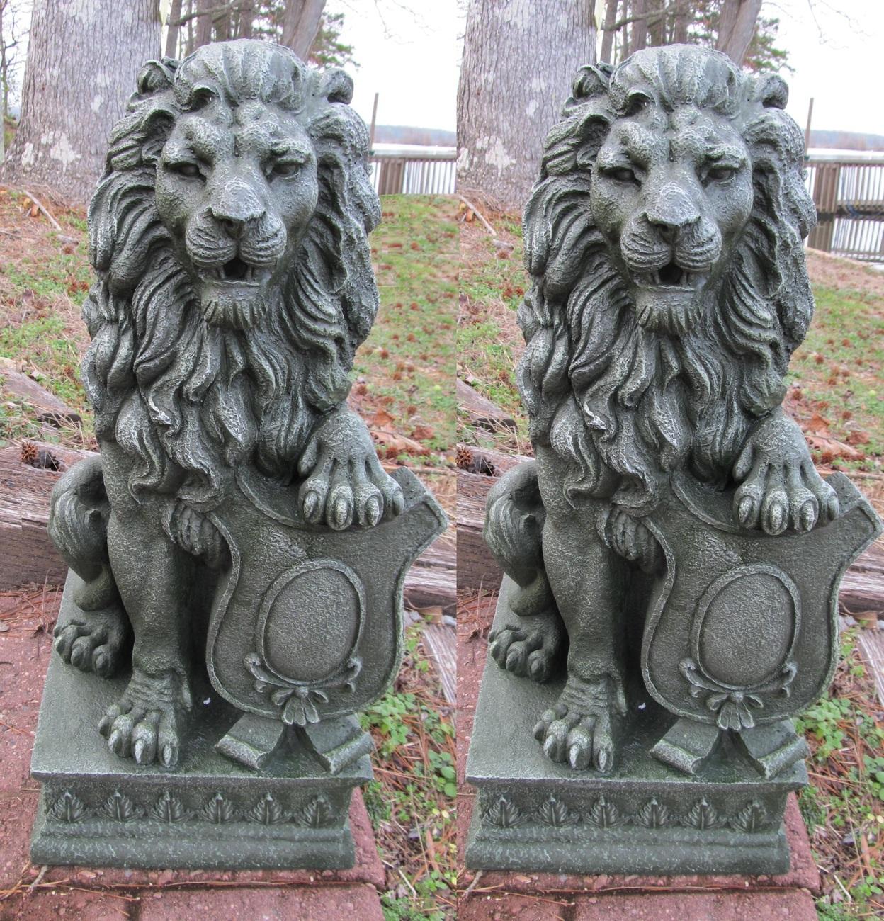 2 Lion Garden Driveway Figurine Statue Pair 25 Tall