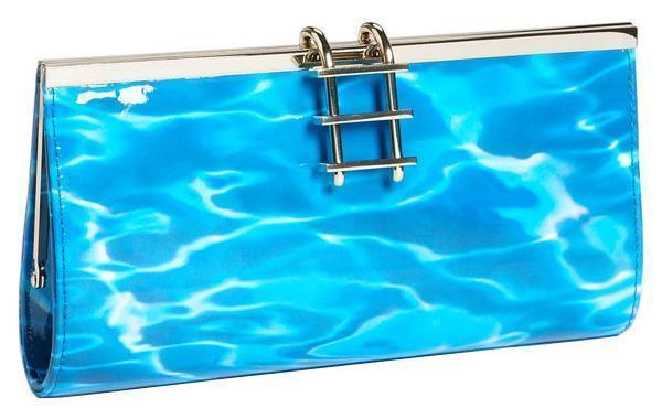 Kate Spade Pool Party Dive In Water Patent Leather Ladder Clasp Clutch Bag Purse