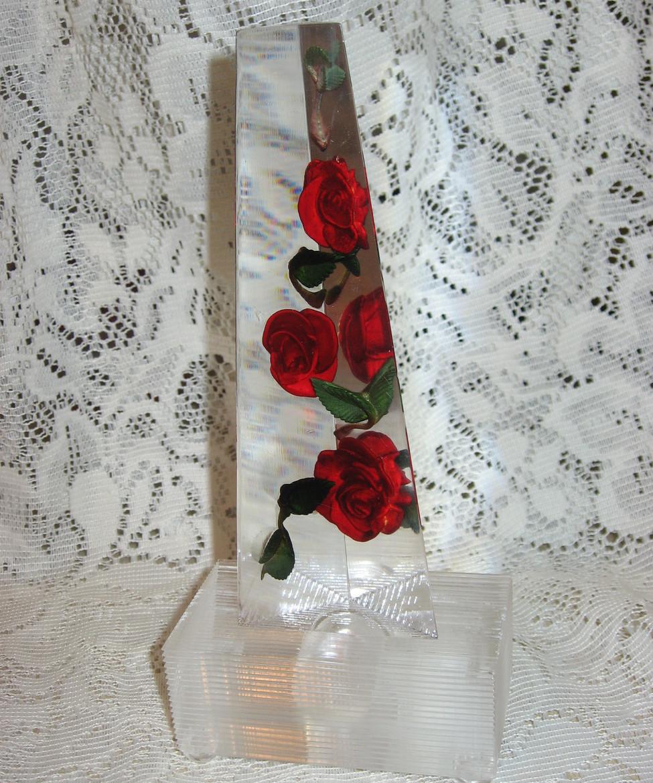 Bircraft Lucite & Roses Obelisk Light-1950's