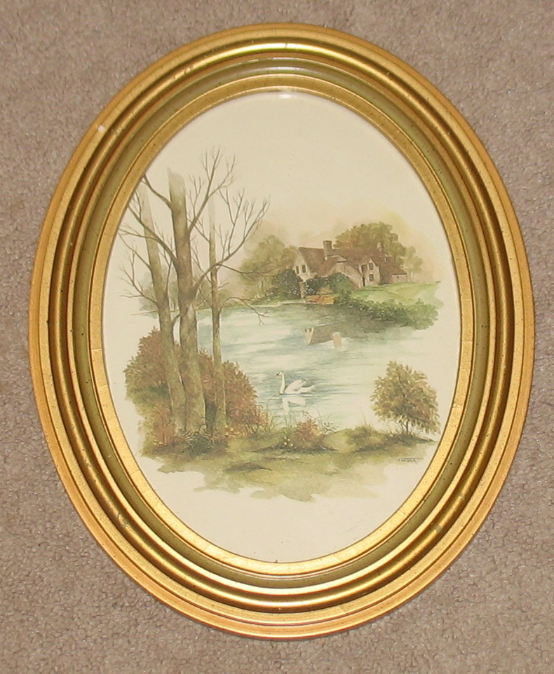 F Massa Gold Framed Oval Country Print Vintage Prints