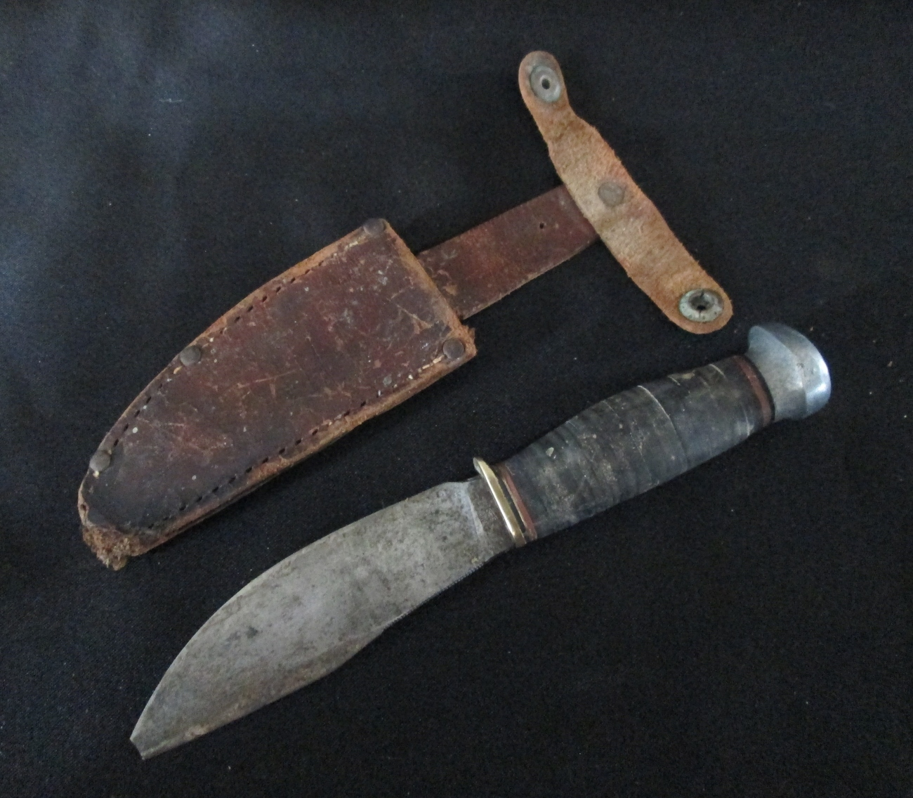 Vintage Marbles Knife and Sheath.  Pat. 1916. Gladstone, Mich. Marble Arms Corp.