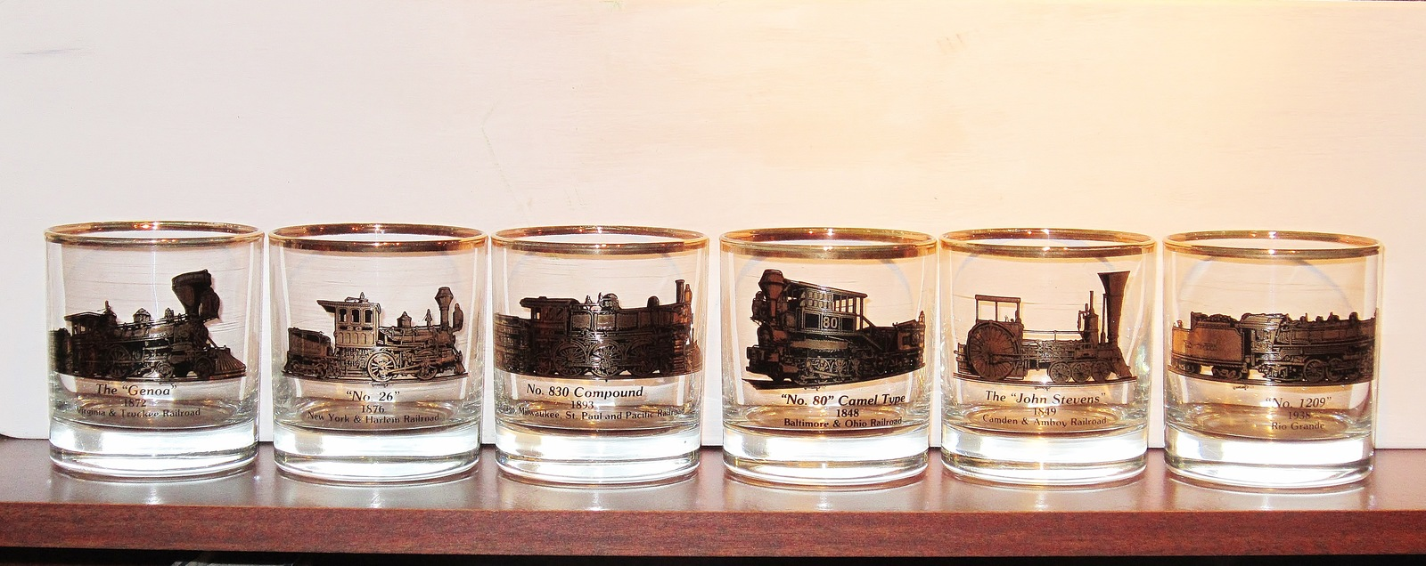 Railroad Barware Cocktail Glasses Steam Engine Locomotive Set of 6 Different Vtg