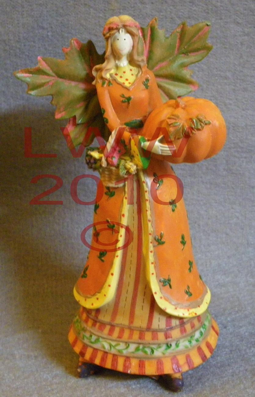 Resin Harvest Fall Autumn Leaf Angel With Pumpkin Figurines