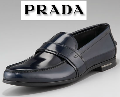$620 PRADA LOGO SPAZZOLATO NAVY BLUE PATENT LEATHER LOAFERS DRIVERS SHOES *NEW*