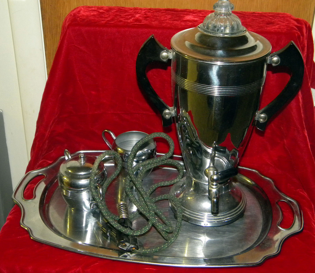 Coffee Maker Tray : Vintage La Belle Silver electric percolator coffee maker w/creamer, sugar, tray - Small Kitchen ...