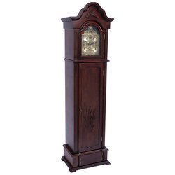 Classic Safari Grandfather Clock with Carved Wood Door and Gun Compartment