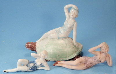 Three Antique Bathing Beauties, Germany, Bisque & China, One