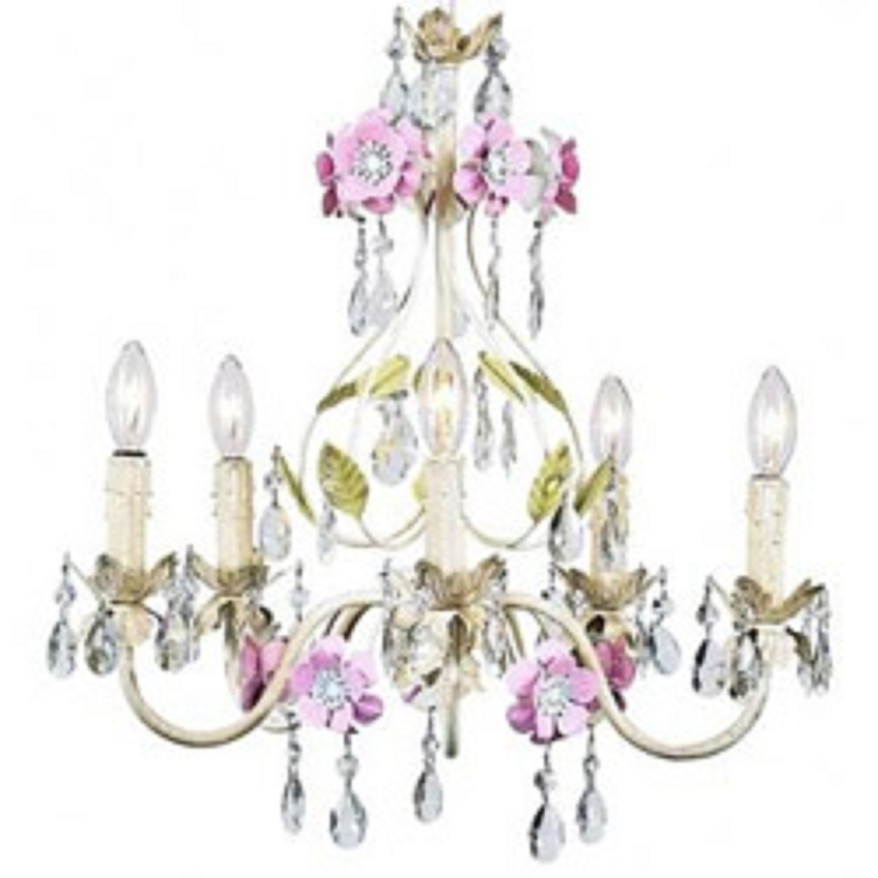 antique shabby chic chandelier of pastel floral with dangling crystals and be chandeliers. Black Bedroom Furniture Sets. Home Design Ideas