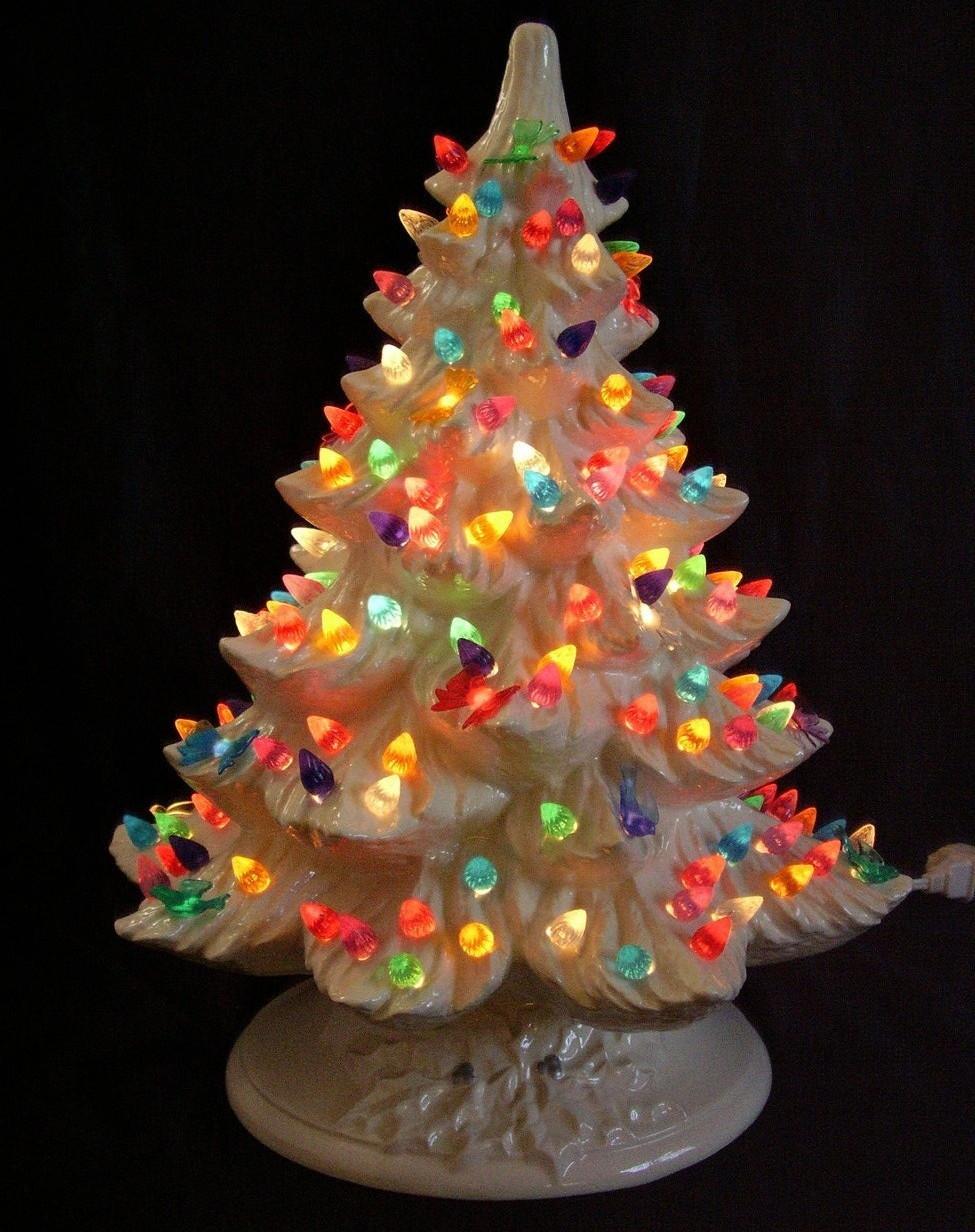 Nowell White Ceramic Lighted Christmas Tree Multi Color ...