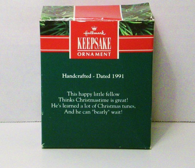 Image 3 of Notes of Cheer Hallmark Keepsake ornament fuzzy bear 1991