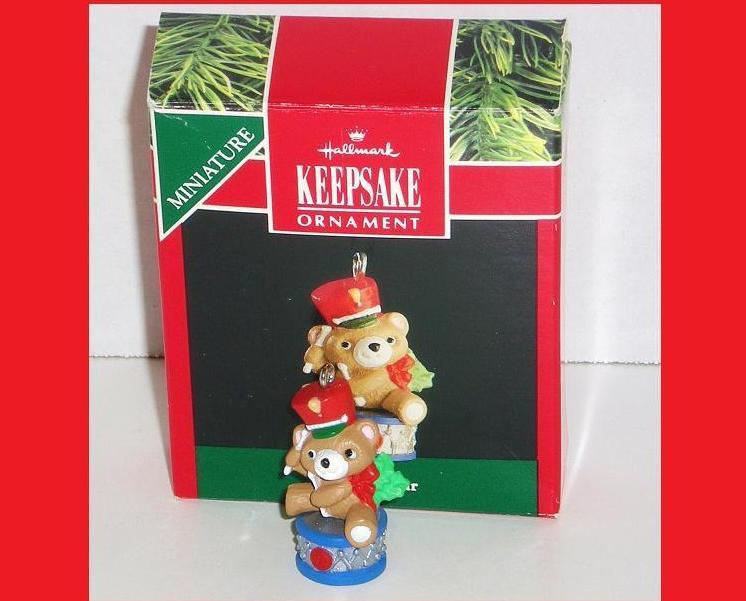 Image 0 of Upbeat Bear Hallmark Keepsake ornament miniature bear 1991