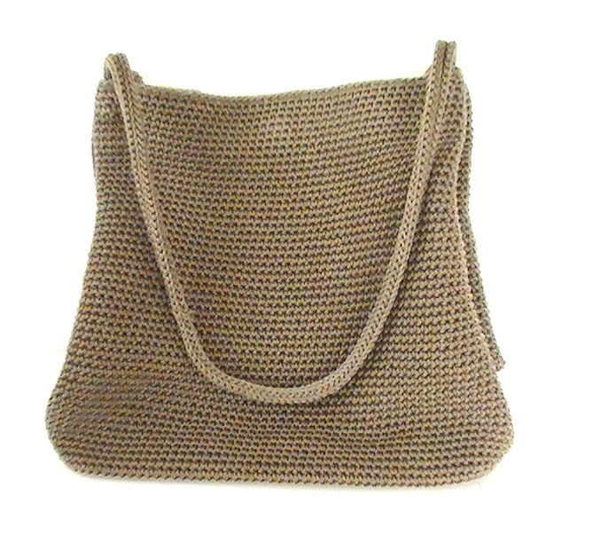 THE SAK Handbag Crochet Knit Brown Purse Shoulder Bag Double Strap ...