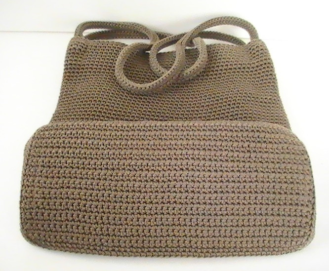 Crochet Bag Strap : ... Crochet Knit Brown Purse Shoulder Bag Double Strap - Handbags & Purses