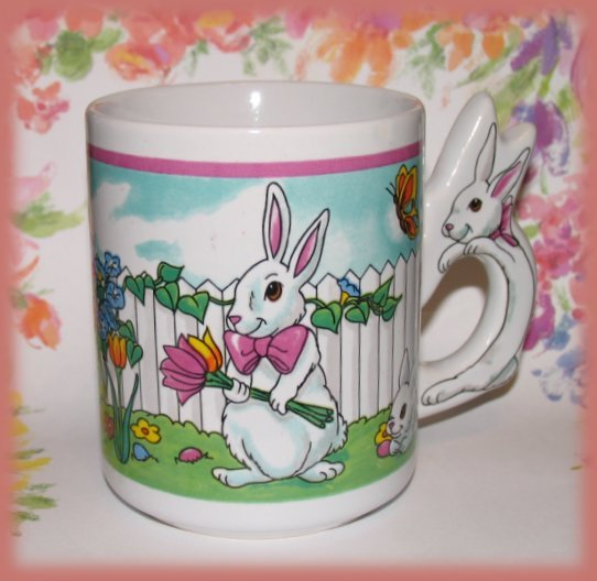 Easter Bunny Rabbits on a Cup Mug Collectible New
