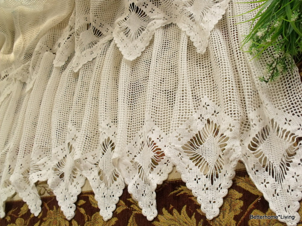 French 20x200 Quot Wide Vintage Hand Crochet Lace Valance
