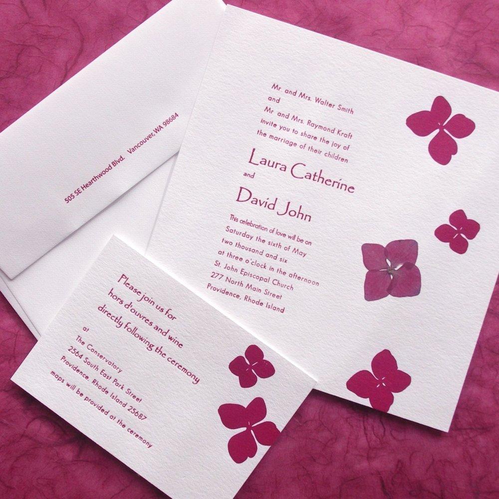 Hydrangea Pressed Flower Letterpress Wedding Invitation Greeting