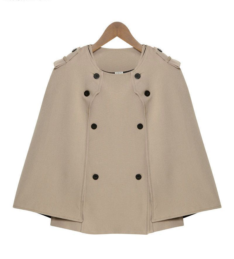2-Piece Cape Coat w/ Military-Style Buttons, Medium