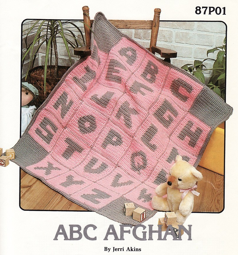 Crochet Pattern For Abc Baby Blanket : Annies Attic ABC Afghan Crochet Pattern Baby Blanket ...