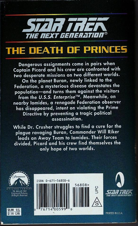 Image 1 of The Death of Princes 44 Star Trek Next Generation PB 1996