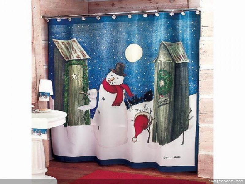 snowman winter 13pc set bath shower curtain and hooks bath accessory