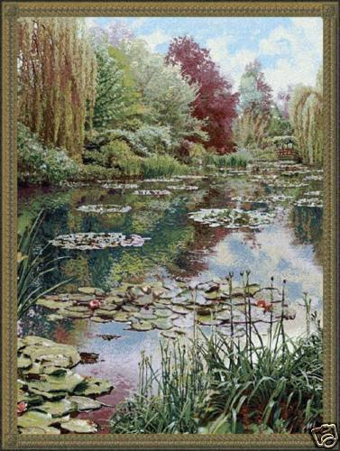 82x68 Claude Monet LAKE GIVERNY Garden Fine Art Tapestry Wall Hanging